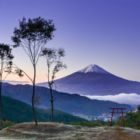 Tenku no torii; Mount Fuji and the torii in the sky